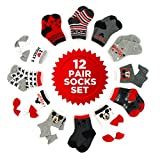 Disney Baby Boys' Mickey and Minnie Mouse Assorted Color Pair Socks Set, Grey, Black, White Collection, 12-24 Months