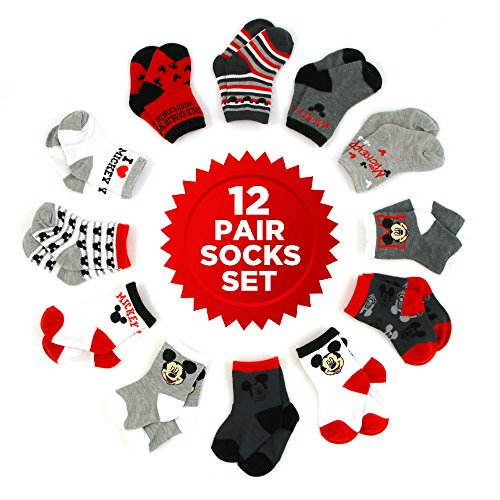 Disney Baby Boys Mickey Mouse Character Assorted Color 12 Pair Socks Set, Multi-Color, Age 0-24 Months