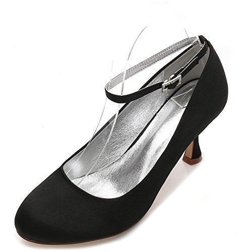 E17061 Satén Trabajo yc Hebilla Redonda L Black La Corte Las De Zapatos Elegante Mujeres Verano Punta Boda Estrecha 12 Plana dYw8qfwA