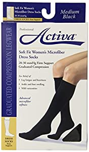 Activa Soft Fit 20-30 mmHg Knee High Socks, Black, Medium