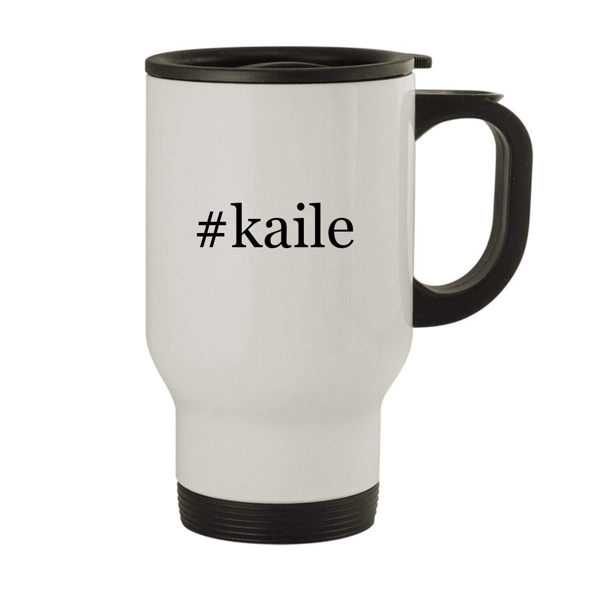 #kaile - Stainless Steel Hashtag 14oz Travel Mug, White