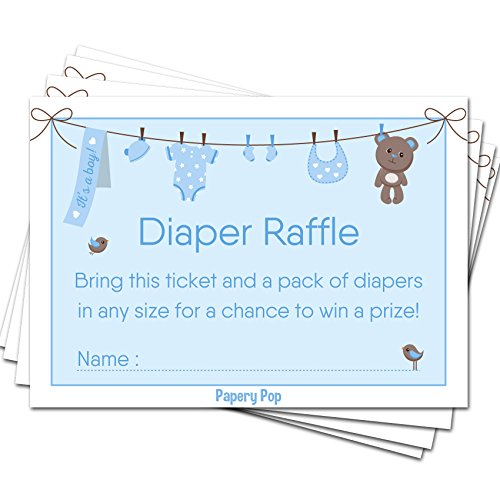 50 Diaper Raffle Tickets for Baby Shower Boy (50 Pack) - Bring a Pack of Diapers to Win a Prize - Baby Shower Invitations Inserts Request Cards Games Decorations -