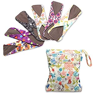 Teamoy 6Pcs Pack 10 Inches Sanitary Pads, Reusable Washable Cloth Menstrual Pads/Panty Liners with Wet Bag, Super-absorbent, Soft and Comfortable, Perfect for Medium Flow
