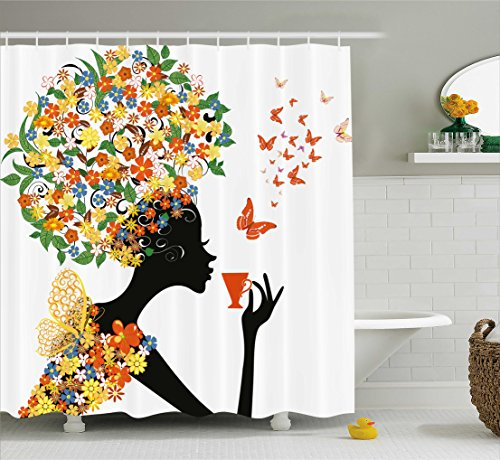 (Ambesonne Floral Shower Curtain, Woman Silhouette with Hot Tea Cup Butterflies Wings Daisies Poppy Hibiscus Hairstyle, Fabric Bathroom Decor Set with Hooks, 70 inches, Multicolor)