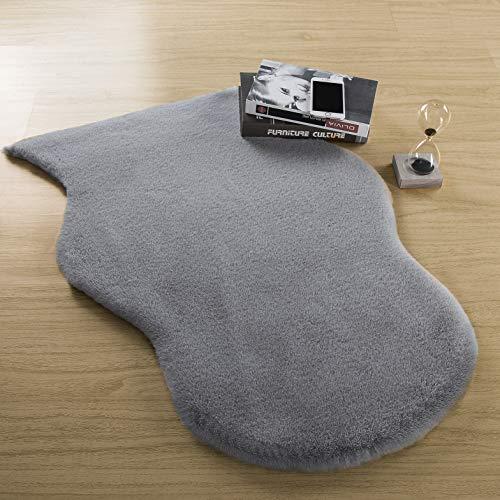 Softlife Shaggy Faux Rabbit Fur Rug - 2' x 3' Irregular Light Grey Soft Fluffy Floor Carpets for Bedroom Living Room Sofa Chair Home Decor Area Rugs ()