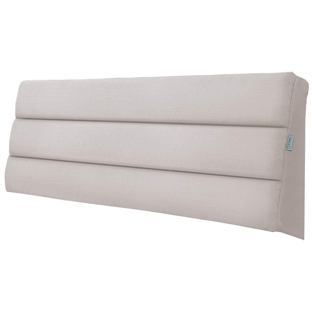 Beige 120×5×60CM Upholstered Headboard for Bed Wedge Head Board Cushion Pillow Divan Backrest Linen Fabric Sponge Filling Removable Washable