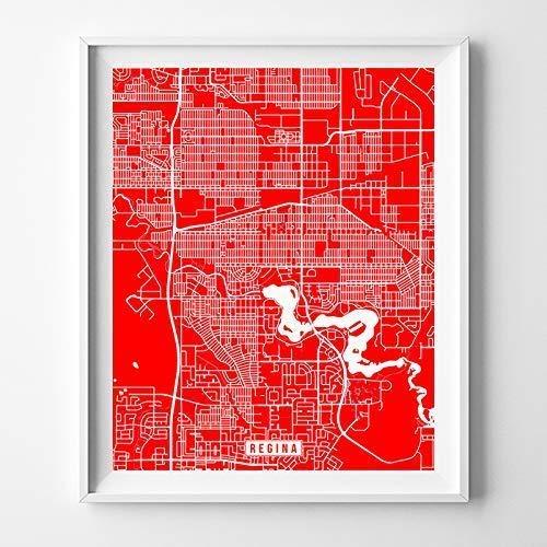 Amazon Com Regina Canada Map Print Street Poster City Road Wall Art