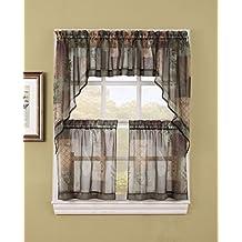 """S. Lichtenberg 36713 Eden Kitchen Tier Curtains, 56 x 36"""", Sage"""