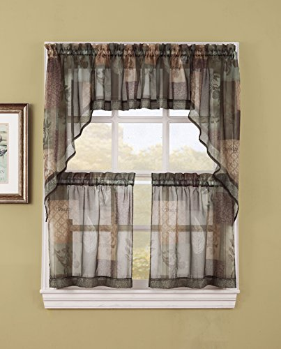 No. 918 Eden Inspirational Theme Kitchen Curtain Tier Pair, 56″ x 36″, Sage Green