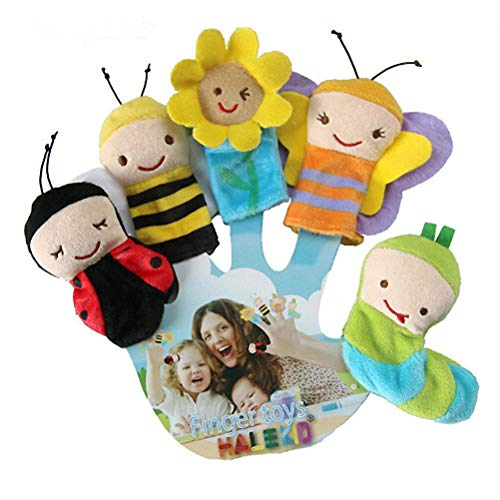 Doc&Good Inc. 5Pcs/Set Cute Insect Shape Finger Puppets Baby Comfort Toys Theater 8cm Mouth Hand Puppet Plush Toy Children's Bedtime Story Toy Puppets & Puppet Theaters -