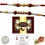 2 Designer Rakhi Bundle Set with 12 Piece Ferrero Collection Chocolates and Laxmi Ganesh Coin - Exact Designs will be sent