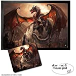 Set: 1 Door Mat Floor Mat (28x20 inches) + 1 Mouse Pad (9x7 inches) - Dragons, A Castle Conquered by A Dragon