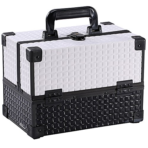 Ikee Design White Cosmetic Travel Carrying Case with Sturdy Black And White Aluminum Frame