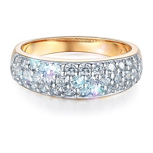 Wellingsale Ladies Solid 14k Yellow Gold Polished CZ Cubic Zirconia Pave Wedding Band - Size 6