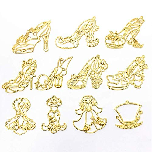 (SimpleLif 10Pieces Princess High Heels Frame Pendant Open Bezel Setting UV Resin Jewelry (Gold Length 40-60mm/1.6