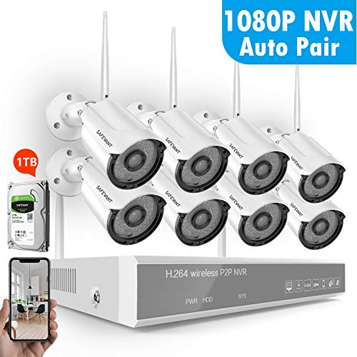 8CH 1080P Security Camera System Wireless,SAFEVANT Wireless Home Security Camera System(1TB Hard Drive),8PCS 960P Indoor/Outdoor IP66 Wireless Security Cameras,P2P,NO Monthly Fee