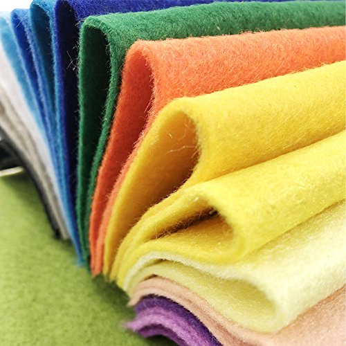 AiMay 50pcs Soft Felt Fabric Pack Felt Squares Sheets for DIY Craft Assorted Colors 1.4mm Thickness (30 cm x 30 cm)