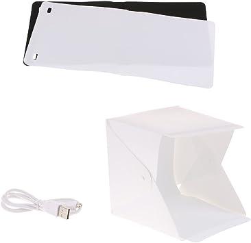 Caja Fotográfica Portátil Caja de Luz de Cortina de Estudio Fotográfico 20cm Gleading con Luz de LED + Dos Fondos de Pantalla (Blanco y Negro): Amazon.es: Electrónica