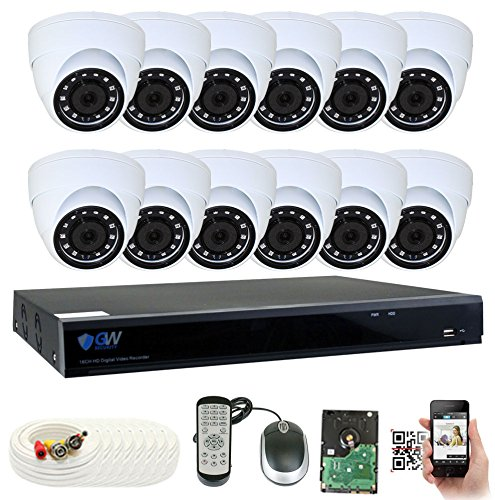 (GW Security 16 Channel DVR 4TB HDD CCTV 5MP Video & Audio Surveillance Security Camera System - 12 x 5MP HDTVI Weatherproof Microphone Dome Cameras)