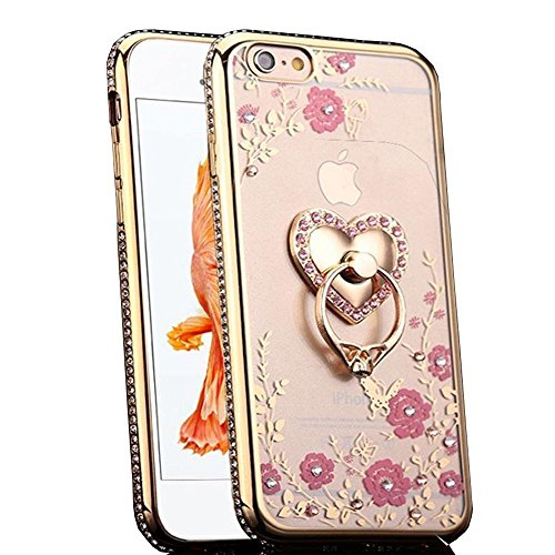 Case-Up ca10 Iphone 6S Plus Case, Glitter Crystal Heart Floral Series, Slim Luxury