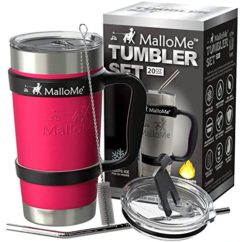 16698bcdea9 Galleon - MalloMe Stainless Steel Vacuum Insulated 6-Piece Tumbler Set, Hot  Pink 20 Oz
