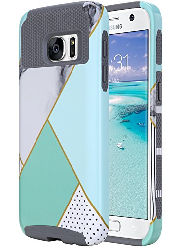 ULAK S7 Case, Galaxy S7 Case, Hybrid Case for Samsung Galaxy S7 2016 Release 2-Piece Dual Layer Style Hard Cover (Mint Geometric Marble) Will not Fit S7 Edge