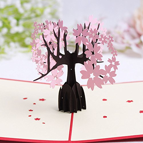 Fange Cherry Blossoms Tree the Kirigami Papercraft 3D Pop up Card Anniversary Baby Birthday Easter Halloween Mother's Day New Home Christmas Card 5.9''x3.9'' (Easy Halloween Pop Up Cards)