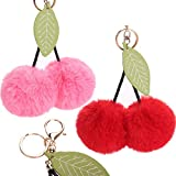 Hairball Keychain Cherry with Leaves Hair Ball Hanging Pendant for Wallet Bags