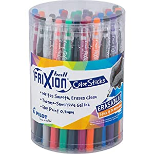 PILOT FriXion ColorSticks Erasable Gel Ink Stick Pens, Fine Point, Assorted Color Inks, Tub of 36 (5805)