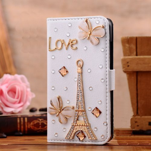 Galaxy S5 Case, LA GO GO(TM) 3D Bling Handmade Glitter Rhinestone Pearl Leather Flip Wallet Protective Case for Samsung Galaxy S5 i9600 (Golden Eiffel Tower) price