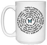 Positive Affirmation Meditation Butterfly Spiral Coffee Mug Inspirational Gift 15 oz
