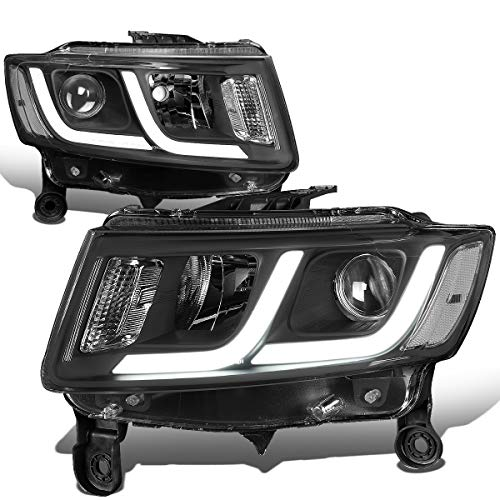 For 14-16 Jeep Grand Cherokee Black Housing Clear Corner LED DRL Projector Headlight/Lamps