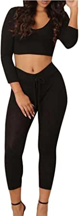 FSSE Womens Casual Sport Ribbed Outfits Hooded Crop Top and Leggings Sweatsuits