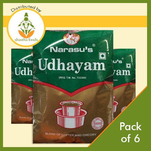 Narasu's Udhayam South Indian Filter Coffee (Pack of 6) Each 500 Gms (T-M)