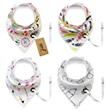 iZiv 4 PACK Baby Bandana Drool Bibs with Adjustable Snaps Pacifier Clip, Absorbent Soft Cotton Lining 0-2 Years (Color-7)