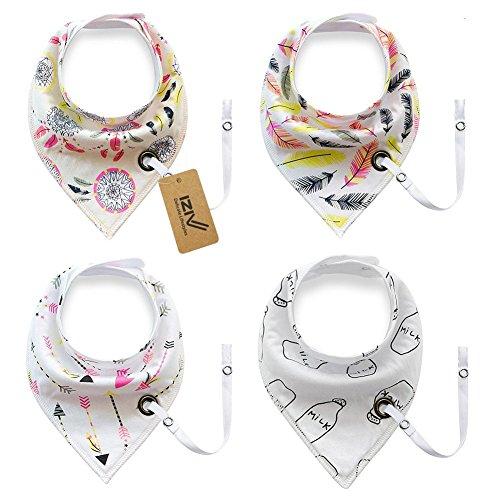 iZiv Baberos del Bebé - Paquete de 4 Diseños Pañuelo con Snaps Ajustables Clip de Chupete , TPU Impermeable Guarnición para niño 0-2 años (Color-7) Color-7