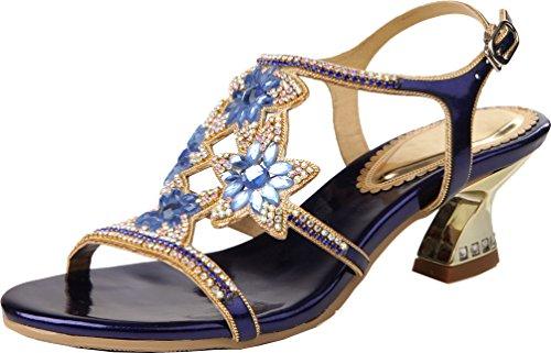 Abby Zxl003 Womens Fashion Wedding Sposa Damigella Party Festa Prom Mostrata Comfort Fannullone Pu Pantofole Blu