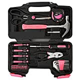 Yuanshikj Precision Tools General Tool Set Homeowner's Tool Kit Toolbox, 39 Piece Pink Color General Household Hand Tools Kit with Plastic Toolbox Storage Case