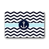 """Non-Slip Rectangle Navy Blue and White Chevron with Nautical Anchor Design Indoor and Outdoor Entrance Floor Mat Doormat - 23.6""""(L) x 15.7""""(W), 3/16"""" Thickness"""