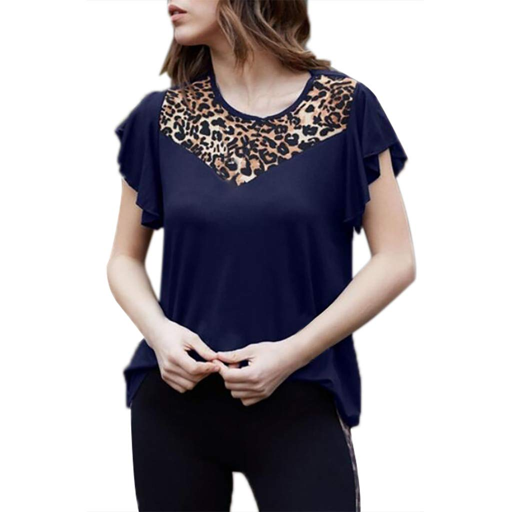 T-Shirts for Women Casual Top Lady O Collar Short Sleeve Leopard Print Top Vest Dark Blue