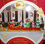 Huge Disney Characters Mickey, Minnie, Donald, Pluto and Goofy on Sleigh 16Ft Animated Christmas Yard Inflatable