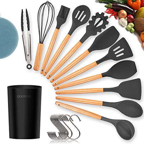 Silicone Cooking Utensils Kitchen Utensil Set - 11 Pieces Natural Wooden Handles Cooking Tools Turner Tongs Spatula Spoon for Nonstick Cookware - Best Kitchen Tools Gadgets (BPA Free, Non Toxic)