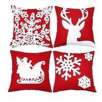 Funda de almohada de 18x18 con bordados de sykting Funda de almohada de navidad Juego de 4 fundas de cojín Decorativa para el automóvil (árbol de Navidad, reno, trineo, copos de nieve)