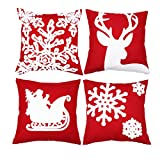 Sykting Embroidery Throw Christmas Pillow Cover 18x18 set of 4