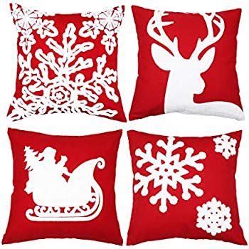 sykting Embroidery Throw Pillow Case 18x18 Christmas Pillow Cover Set of 4 Cushion Covers Home Car Decorative (Christmas Tree,Reindeer,Sledge,Snow Flakes)