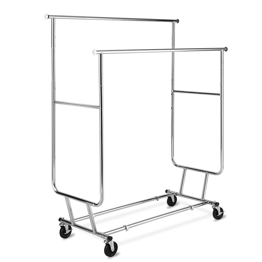 TomCare Garment Rack Double Clothes Racks 250lb Capacity Ajustable Clothing Rack Extensible Clothes Hanging Rack Commercial Grade Garment Rolling Racks Hanging Heavy Duty Garment Rack by TomCare