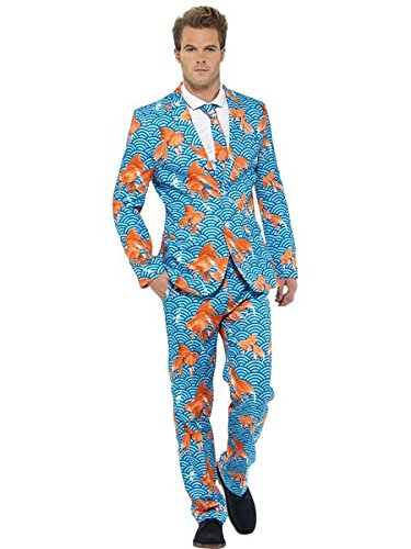 Smiffy's Men's Goldfish Suit Blue with Jacket Trousers and Tie, Multi, Medium (Halloween Suits Men)