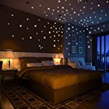 Variety Size Glow in the Dark Star Wall Stickers - Easy Peel and Stick Fluorescent Stars - Ideal for Kid's Room, Ceilings, or Living Rooms ((274) Stars)