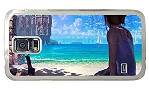 Hipster designer Samsung Galaxy S5 Cases Girl Sitting Beach PC Transparent for Samsung S5