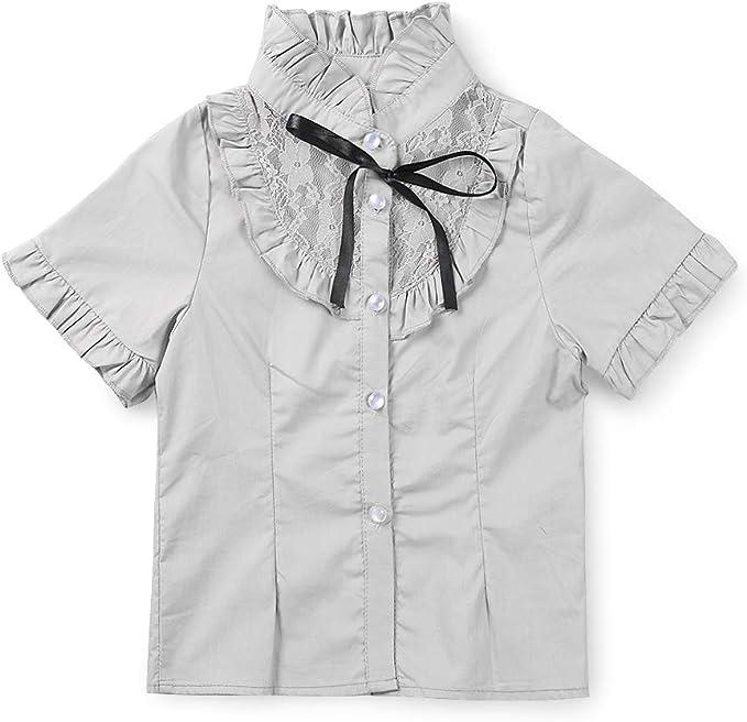 iEFiEL Girls School Uniform Short Puff Sleeves Blouse Button Down Oxford Shirt White